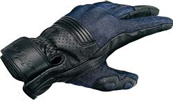 Denim & Leather Motorcycle Gloves (Black) with Mobile Phone Touchscreen