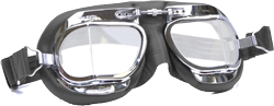 Halcyon Mk49 Black Leather Classic Motorcycle Compact Goggles