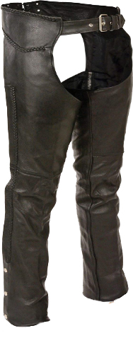 Milwaukee Leather ML1135 Men's Black Braided Leather Motorcycle Chaps