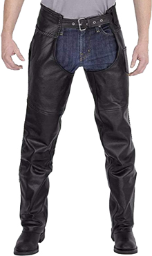 Viking Cycle Mens Braided Motorcycle Leather Chaps