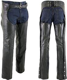 Xelement 7554 Men's Black 'Advanced Dual Comfort' Leather Chaps