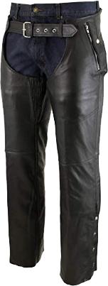 Xelement B7561 Men's Black Leather Chaps